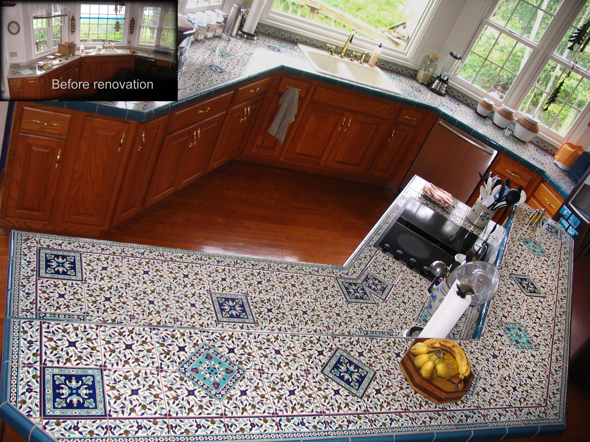 Custom hand painted ceramic tile kitchen countertop for one of my custom hand painted ceramic tile kitchen countertop for one of my clients in the us dailygadgetfo Choice Image