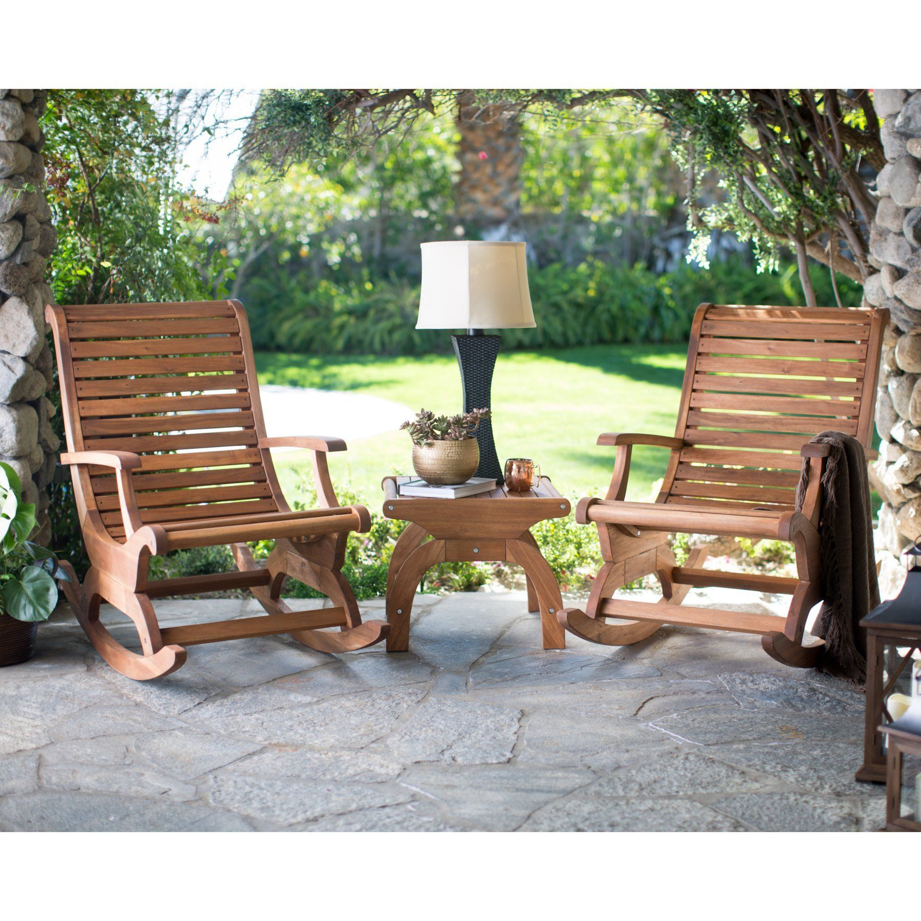 Outdoor Belham Living Avondale Wood Rocking Chair Set