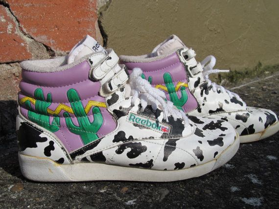 RESERVED 80 s Reebok Freestyle Hi-Top Sneakers Cactus Cow Womens Size 8 c71677aa2