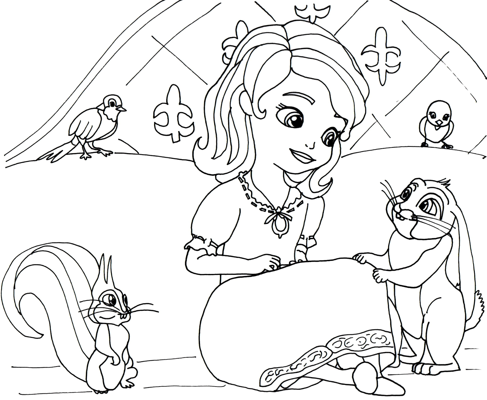 Click Here To Print Sofia The First Coloring Page In Her Night