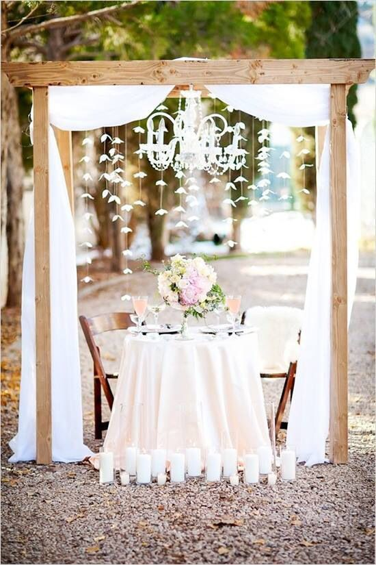 Bride and groom table rustic wedding: Head Table Romantic