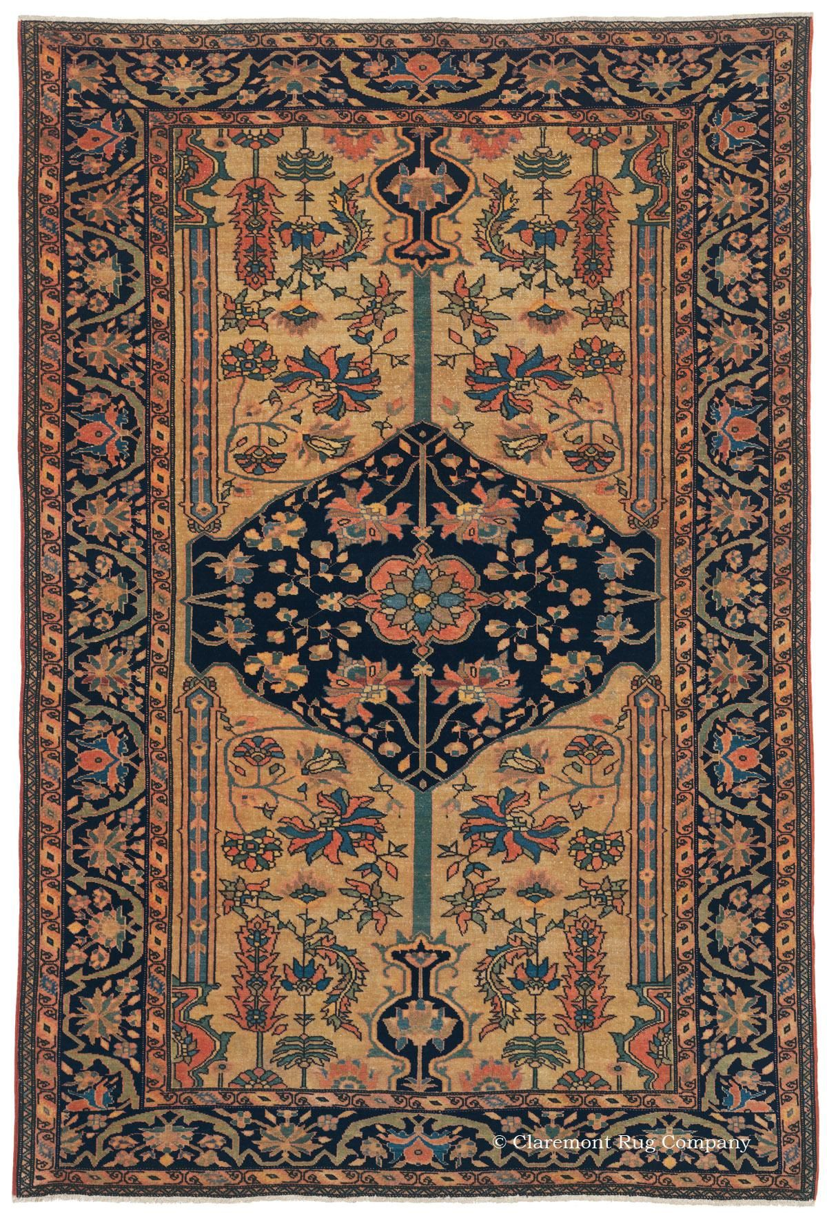 Ferahan (SOLD), 3ft 4in x 4ft 10in, 3rd Quarter, 19th Century.   Impassioned 19th century Persian master weavers occasionally wove mat-size rugs as artistic studies or personal gifts. This well-preserved, diminutive antique Oriental carpet's supremely confident expression, artistic virtuosity and superb craftsmanship all point to such an origin. Particularly distinguishing it is the unique golden apricot dye that was used for the color of the background.