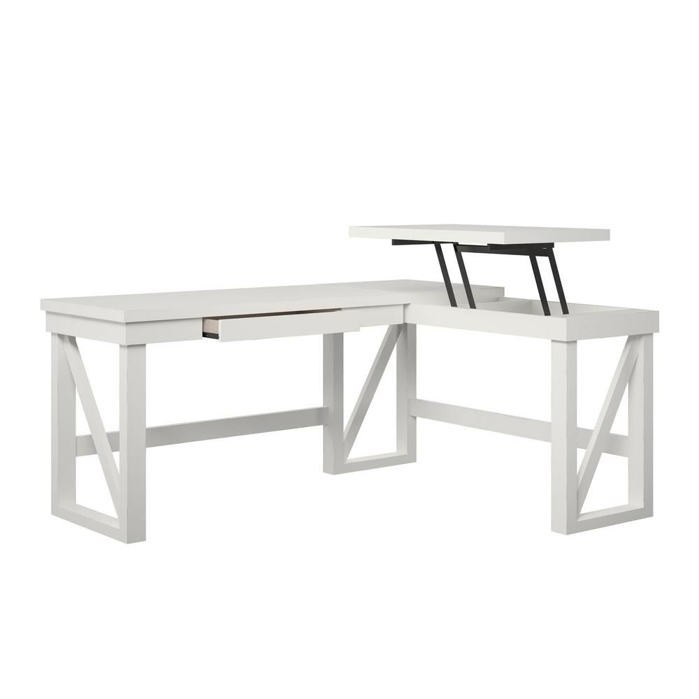 Ameriwood Home Carlyle White L Shaped Desk With Lift Top Hd17928 The Home Depot White L Shaped Desk L Shaped Desk Adjustable Height Desk [ 1000 x 1000 Pixel ]