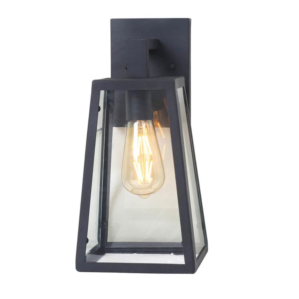 Home Decorators Collection Colonade Collection 1 Light Sand Black Outdoor Wall Lantern Sconce With Clear Glass 17702 The Home Depot Wall Mounted Sconce Outdoor Wall Lantern Outdoor Walls