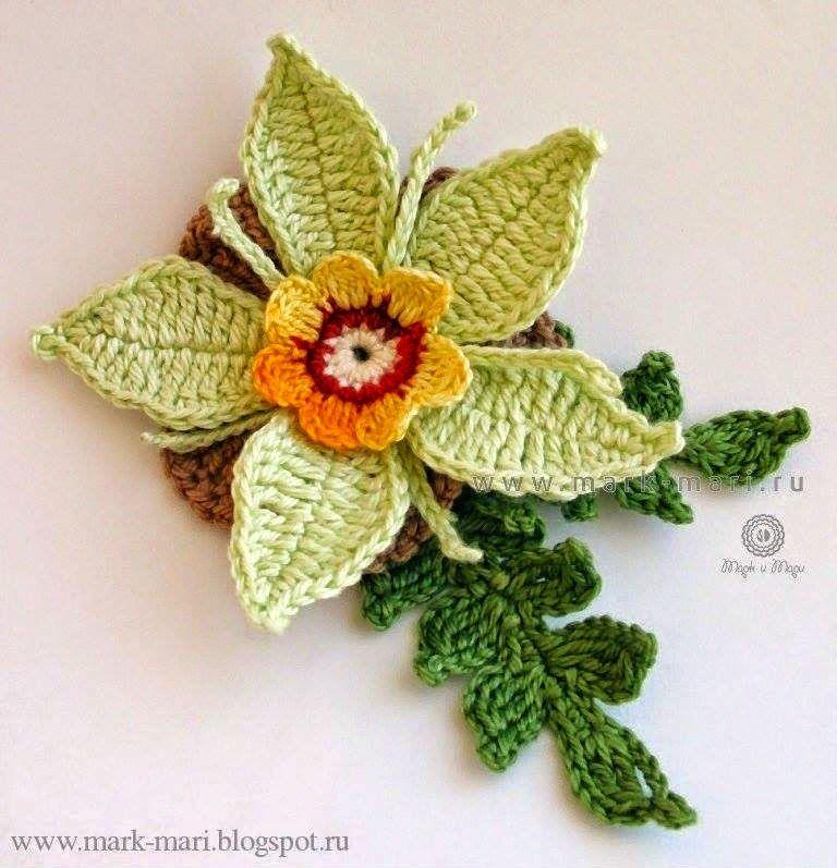 Crochet+y+dos+agujas:+Flor+tejida+con+ganchillo+en+hilo+-+con+ ...