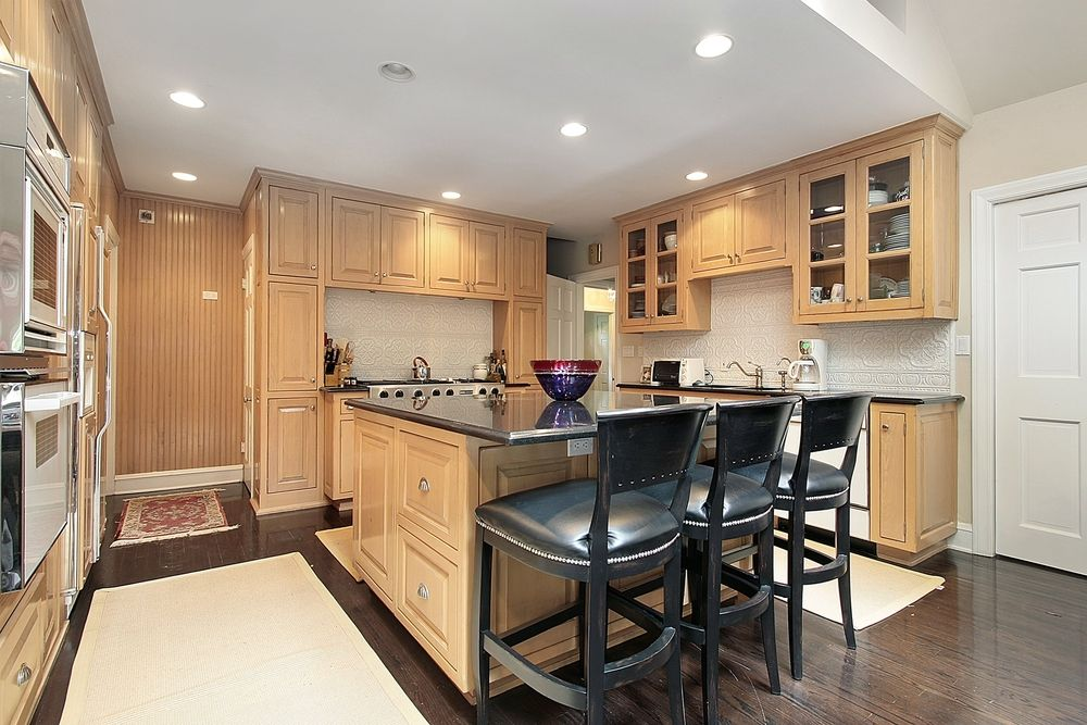 Furniture, L Shaped Light Wood Kitchen With Black