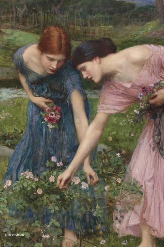 Waterhouse Gather Ye Rosebuds Pre Raphaelite Canvas Art Poster Print Painting