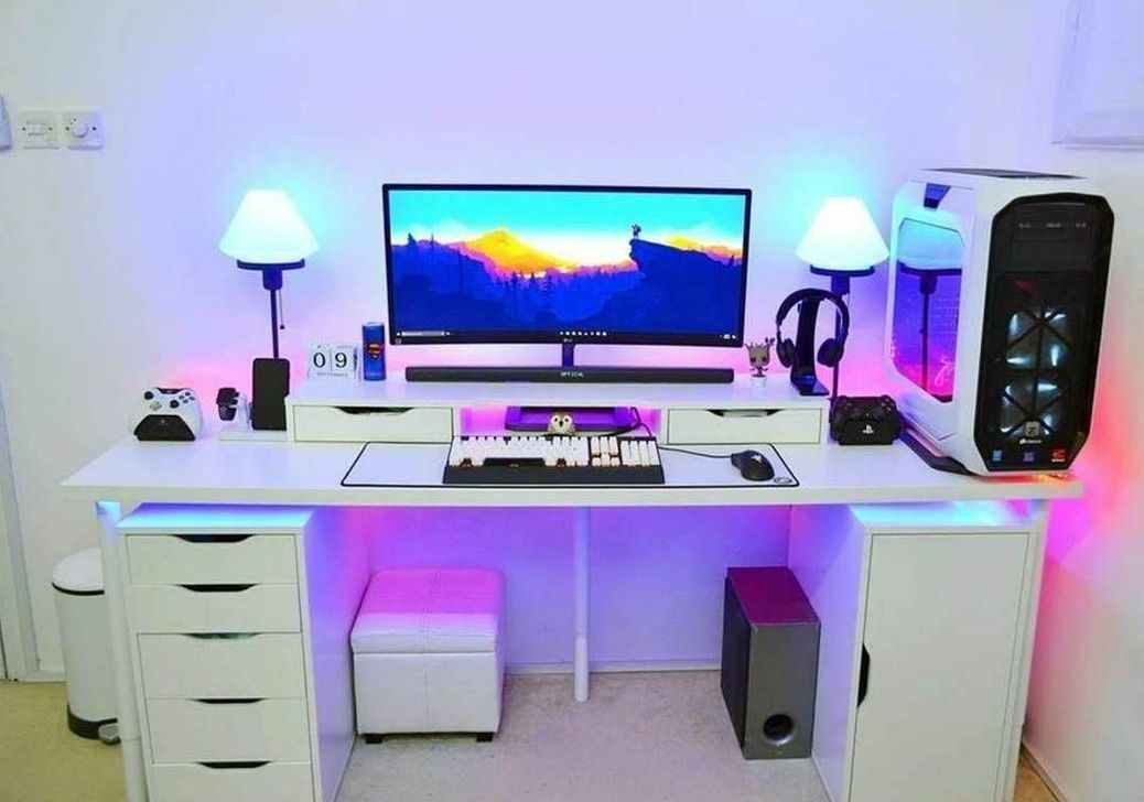 41 Amazing Gaming Desk Ideas Video Game Rooms Gaming Room Setup