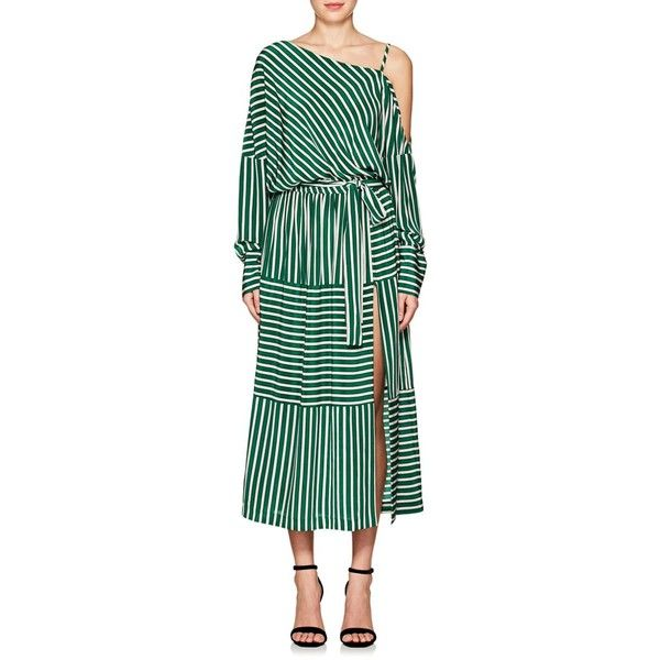 8d22ee1f0c45e0 Robert Rodriguez Women s Striped Silk Cold-Shoulder Midi-Dress ( 495) ❤  liked on Polyvore featuring dresses