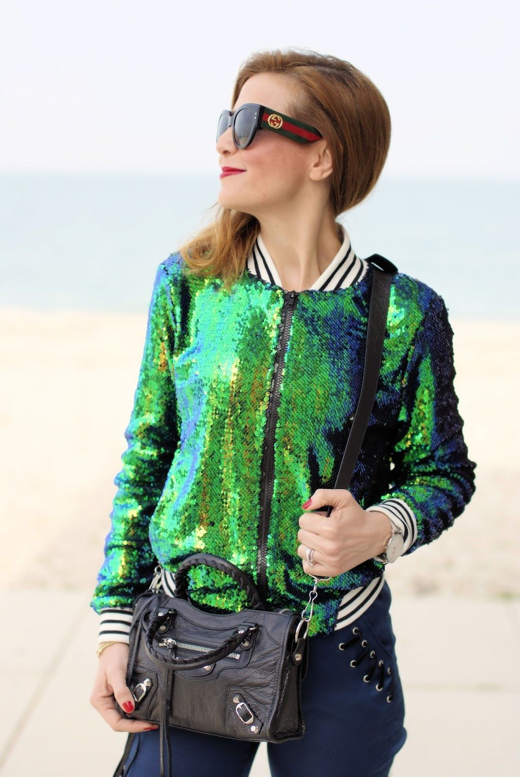 d36394153 Sequins bomber jacket and Gucci sunglasses Gucci Sunglasses, Bomber Jacket, Lace  Up, Fat
