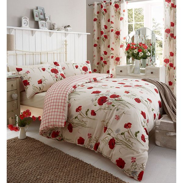 Catherine Lansfield Wild Poppy Bedding Set Multi 27 Bam Liked On Polyvore Featuring Home Bed Bath Beddin Red Duvet Cover Red Duvet Duvet Bedding Sets
