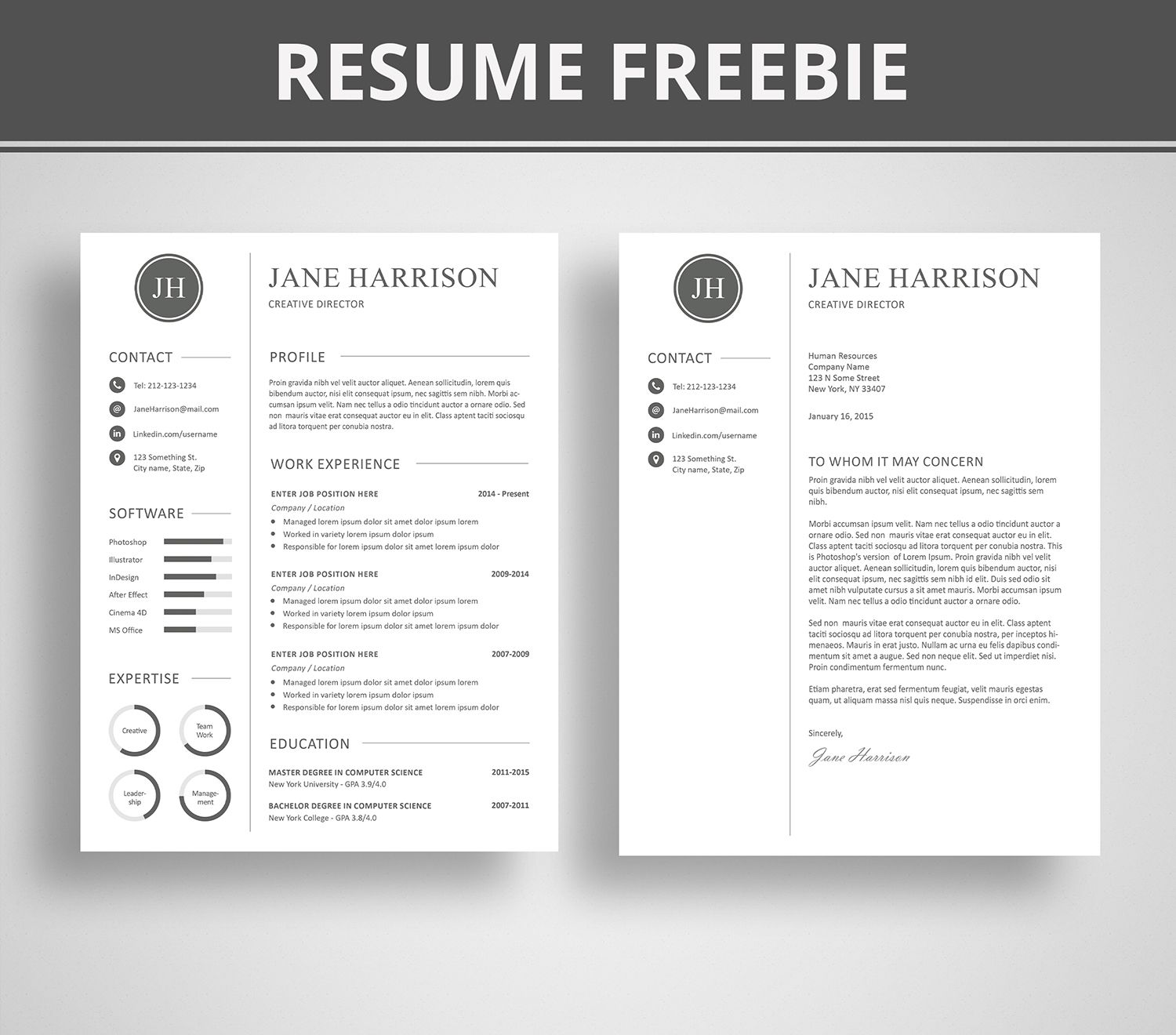 free modern resume template that comes with matching cover letter template