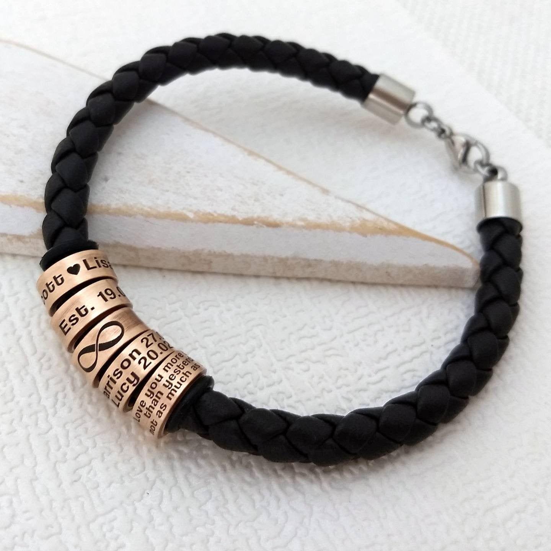 Bronze wedding anniversary, leather bracelet with bronze