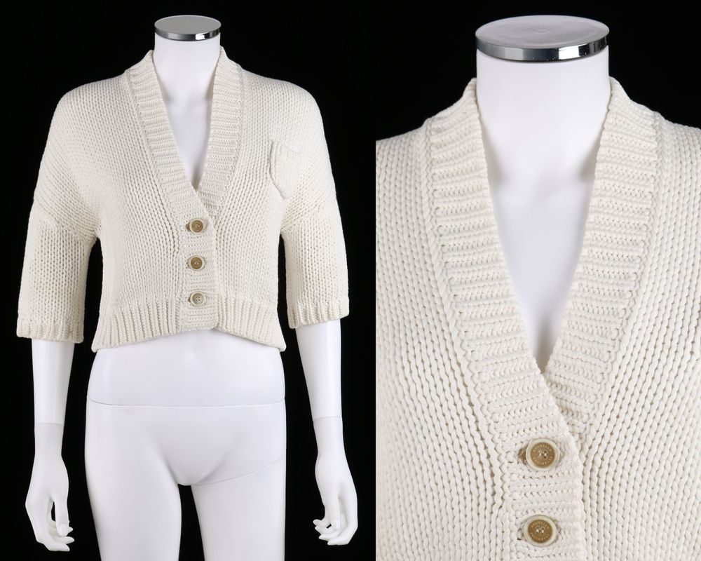 BRUNELLO CUCINELLI WHITE IVORY COTTON KNIT SHORT SLEEVE CARDIGAN ...