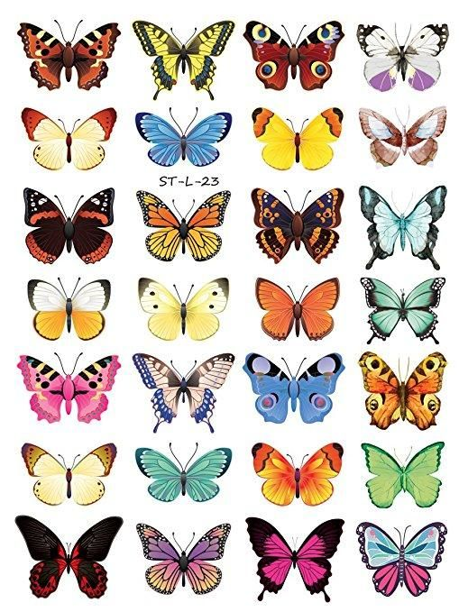 Supperb Temporary Tattoos - Butterflies (28 Butterflies)