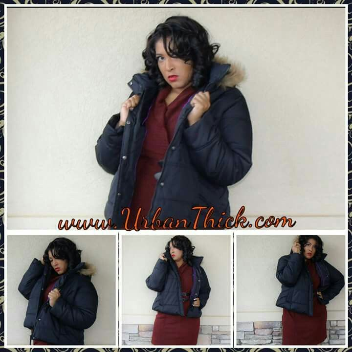 Baby, it's a little cold outside.  Look sexy and stay warm in this bubble #jacket with fur #hood. Found at Urban Thick. #UTModel #winterwear #Curvyfashion #cuteclothes #pluspositve #plussize #coat