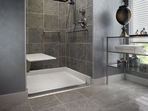 Zero Threshold Shower Pan.Allowing Easy Accessibility For Wheelchair And Foot Traffic