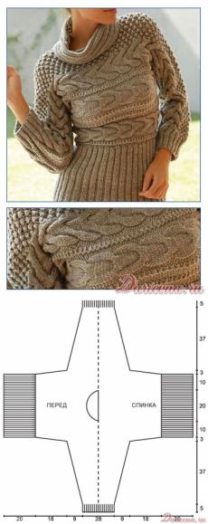 Вязание спицами для женщин Пуловер, связанный в поперечном направлении