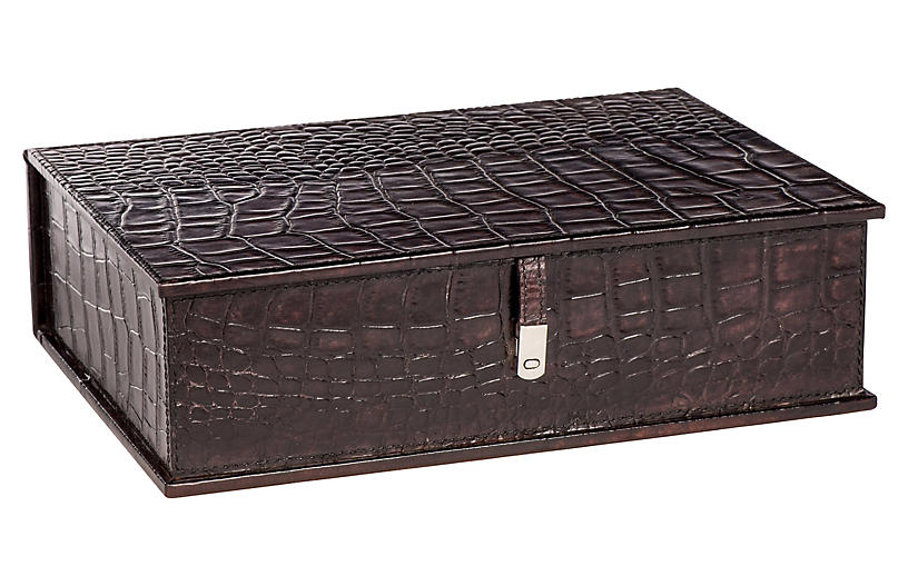 18 Alligator Leather Box Brown Leather Box Handcrafted Box Leather