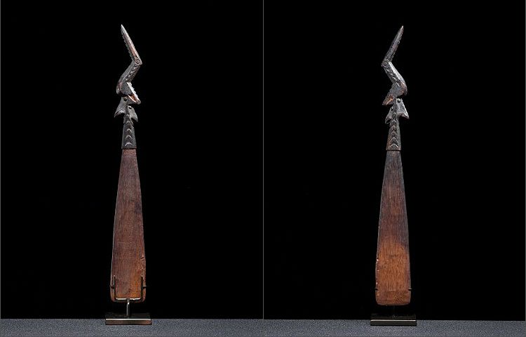 Sissano  Lagoon New Guinea lime spatula with bird and combined double face