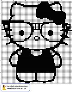 Hello Kitty blanco y negro Punto De Cruz  Crochet Patterns