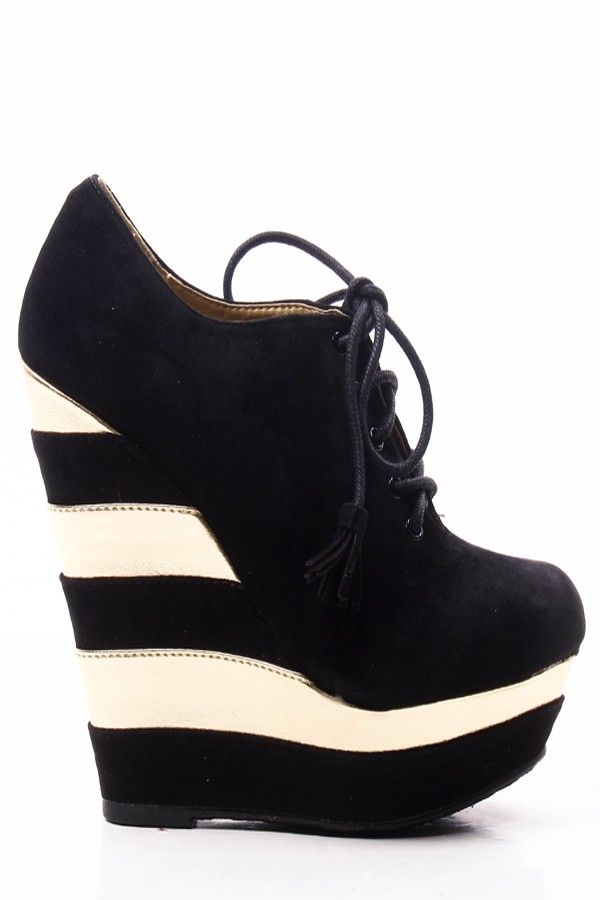 01aeccc5e50 BLACK FAUX SUEDE TWO TONE PLATFORM LACE UP WEDGE BOOTIES