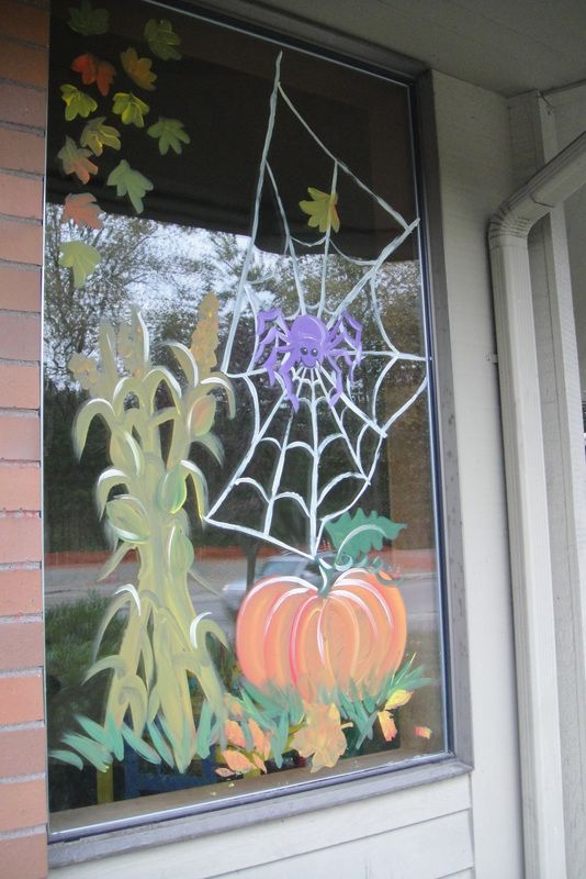 Autumn halloween window design window painting art for Autumn window decoration