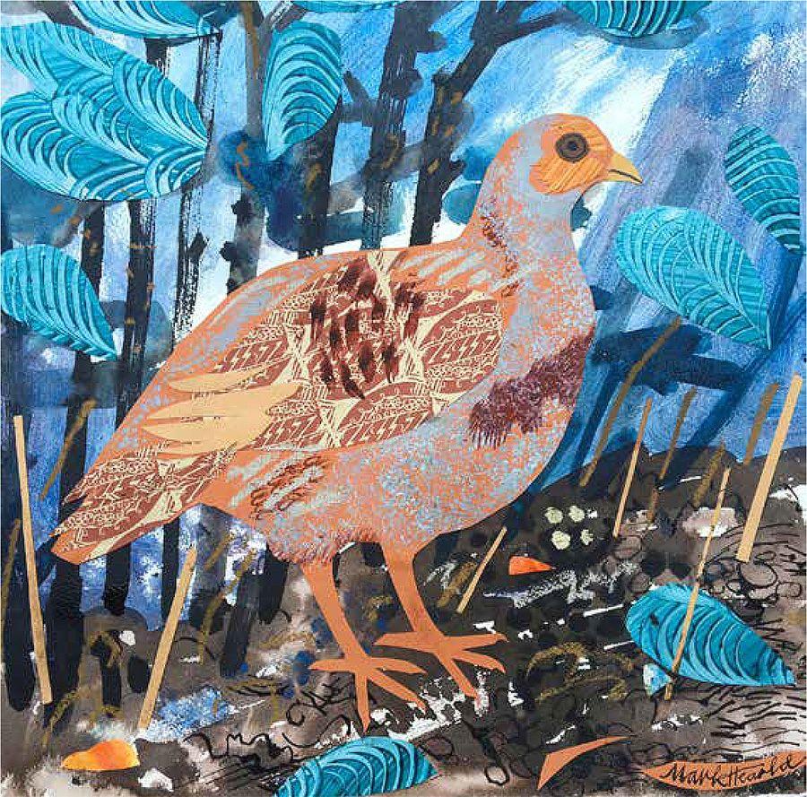 Best Mark Hearld Grey Partridge Mixed Media Art Collage 400 x 300