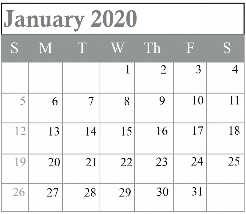Blank January 2020 Calendar Editable Template