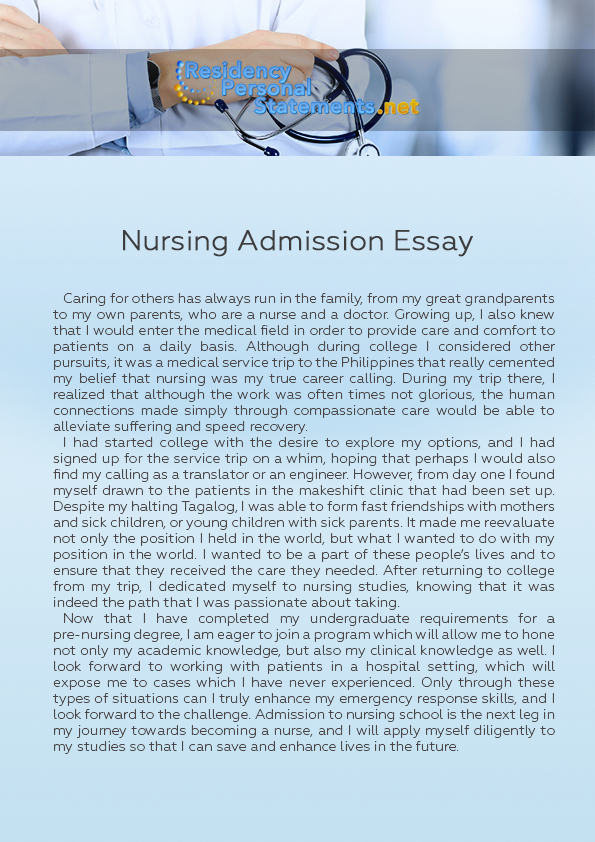 College Application Essays For Nursing