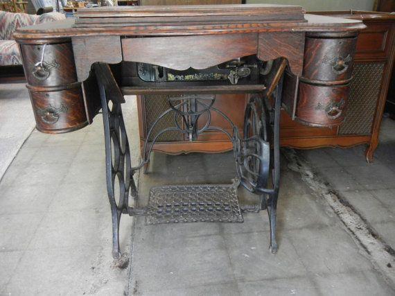 Antique Oak Damascus Treadle Sewing Machine Home Antiques And Best Damascus Sewing Machine
