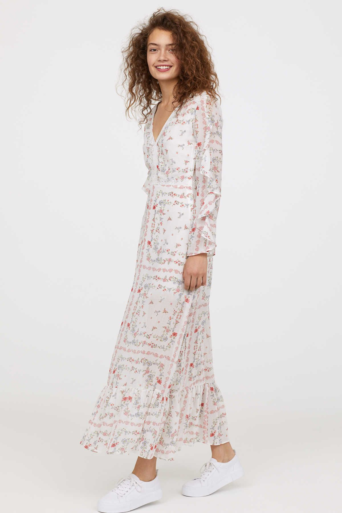 Whitefloral long dress in airy crinkled fabric with a printed