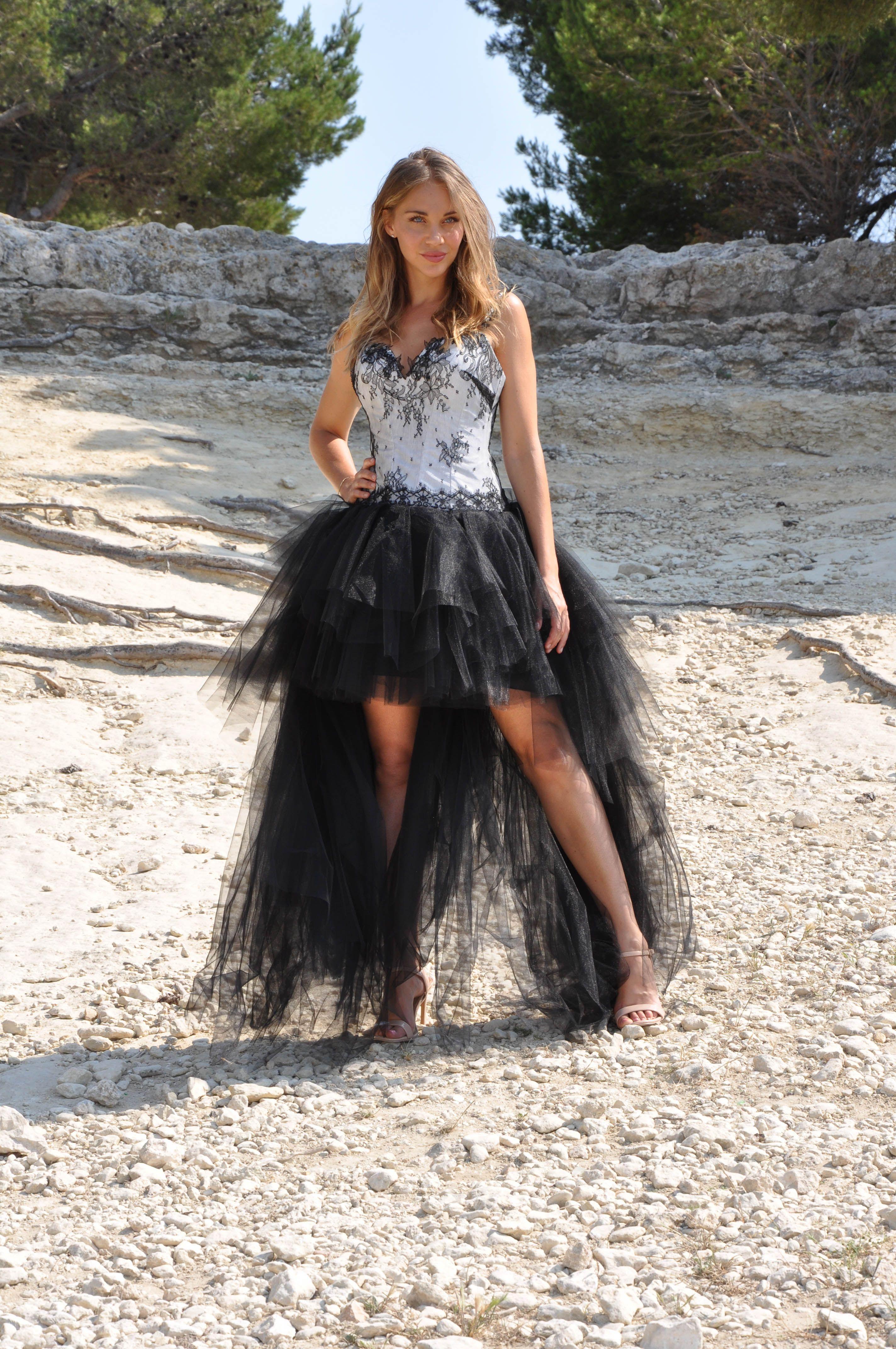 Robe De Mariée Courte Devant Noire Modèle Calista