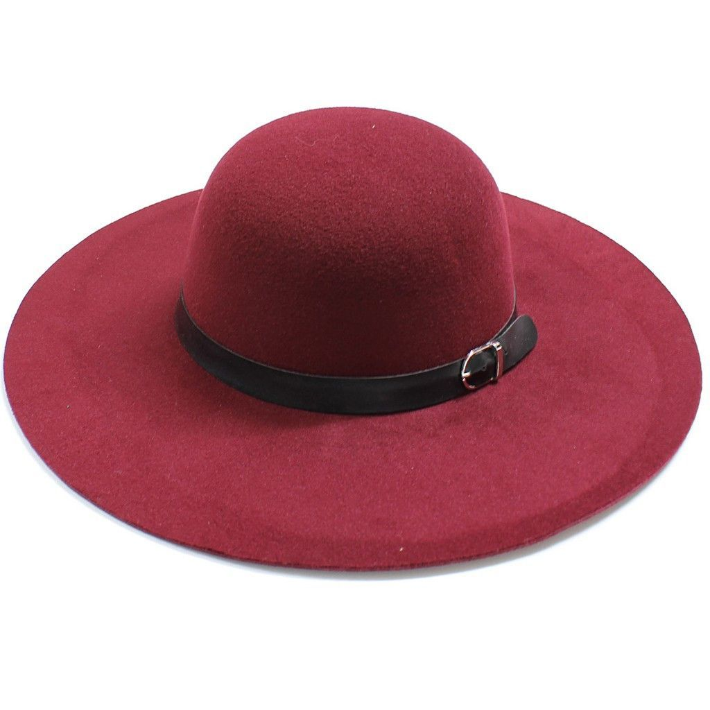 b8593f2640b59 Womens Wide Brim Floppy Felt Hat with Buckle