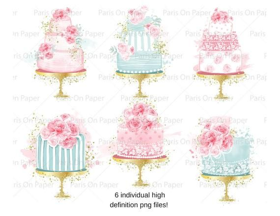 Photo of Shabby Chic Bridal Shower Cake Cliparts   Bakery Cliparts   Birthday Printables   Mint Gold Glitter   Watercolor Cakes   Pink Peonies
