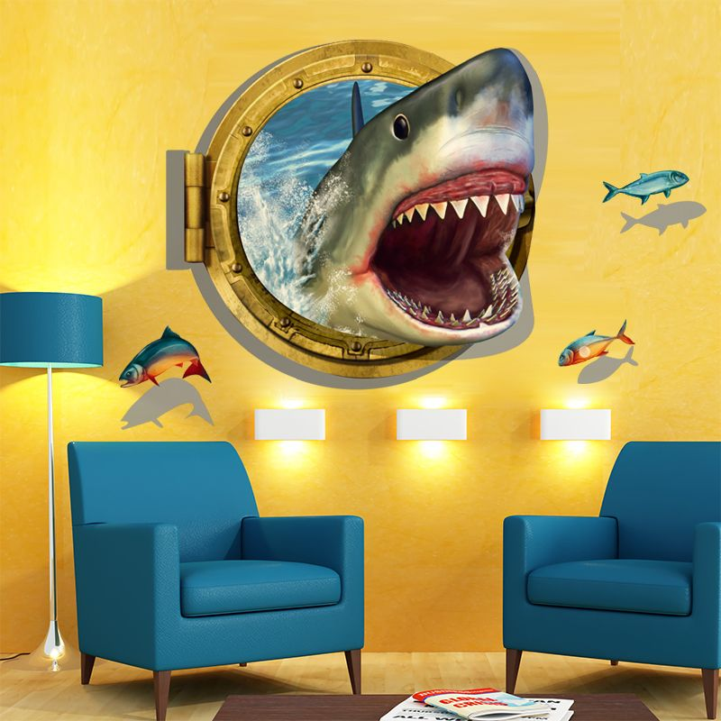 SHIJUEHEZI] Fierce Shark 3D Wall Sticker Fish Self-adhesive Mural ...