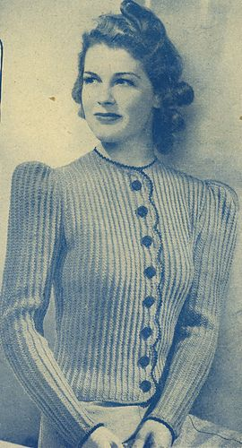 Vintage 1940 Womens Scallop Front Cardigan Pattern By Womans Weekly