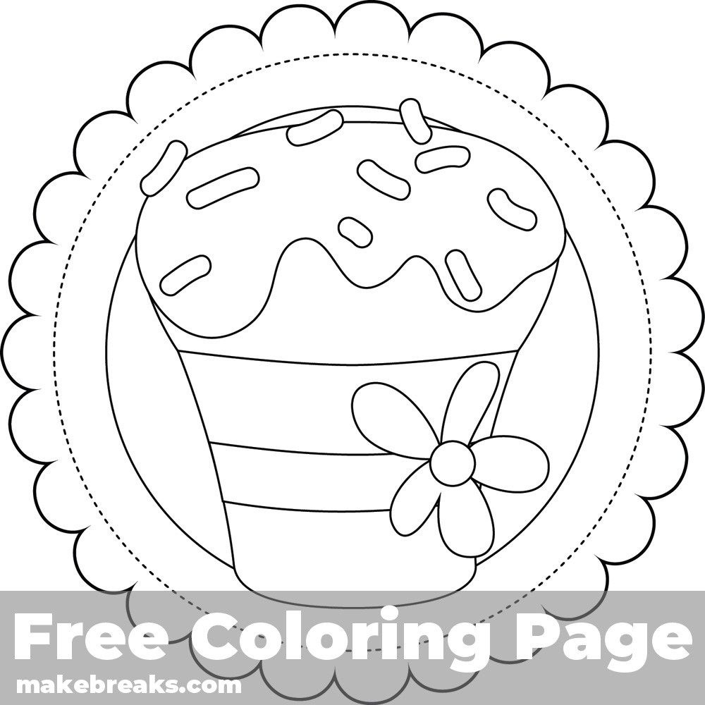 Cupcake Coloring Page For Cards 4 | Cupcake coloring pages ...