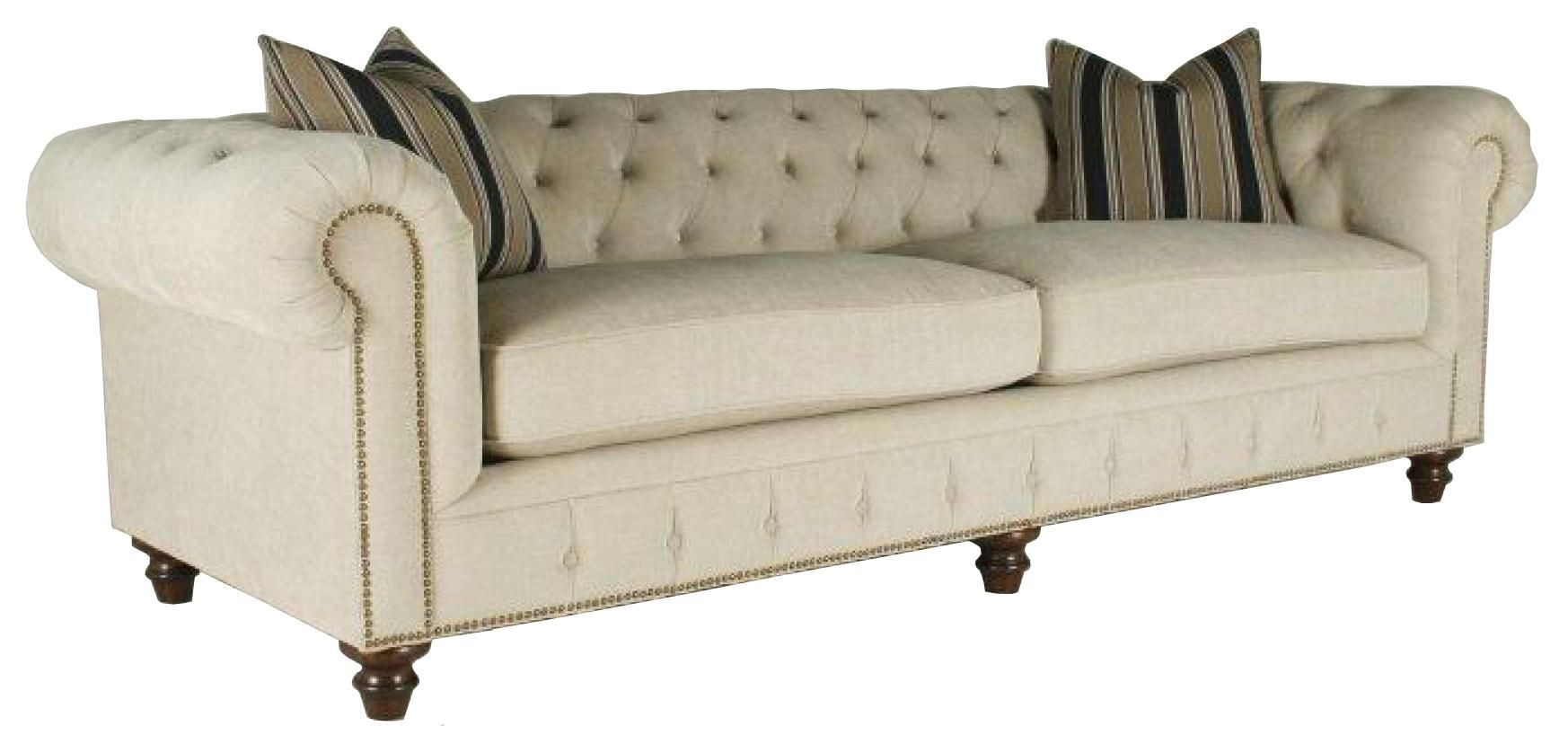 Shea Shea Sofa Couch With Rolled Arms And Tufted Seat Cushions By Rachlin  Classics At Olindeu0027s Furniture