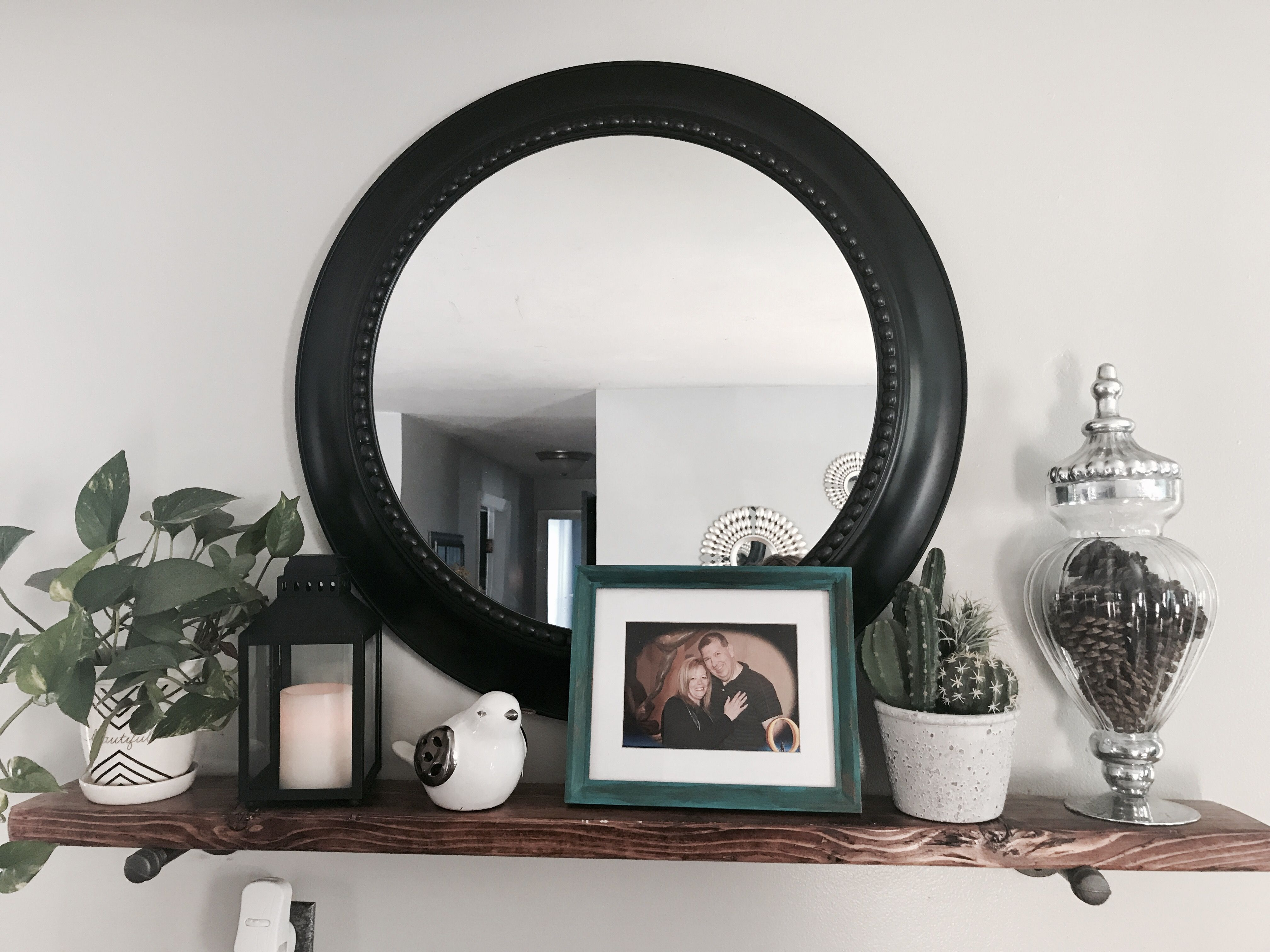 Farmhouse shelf with Mirror Home diy, Mirror with shelf