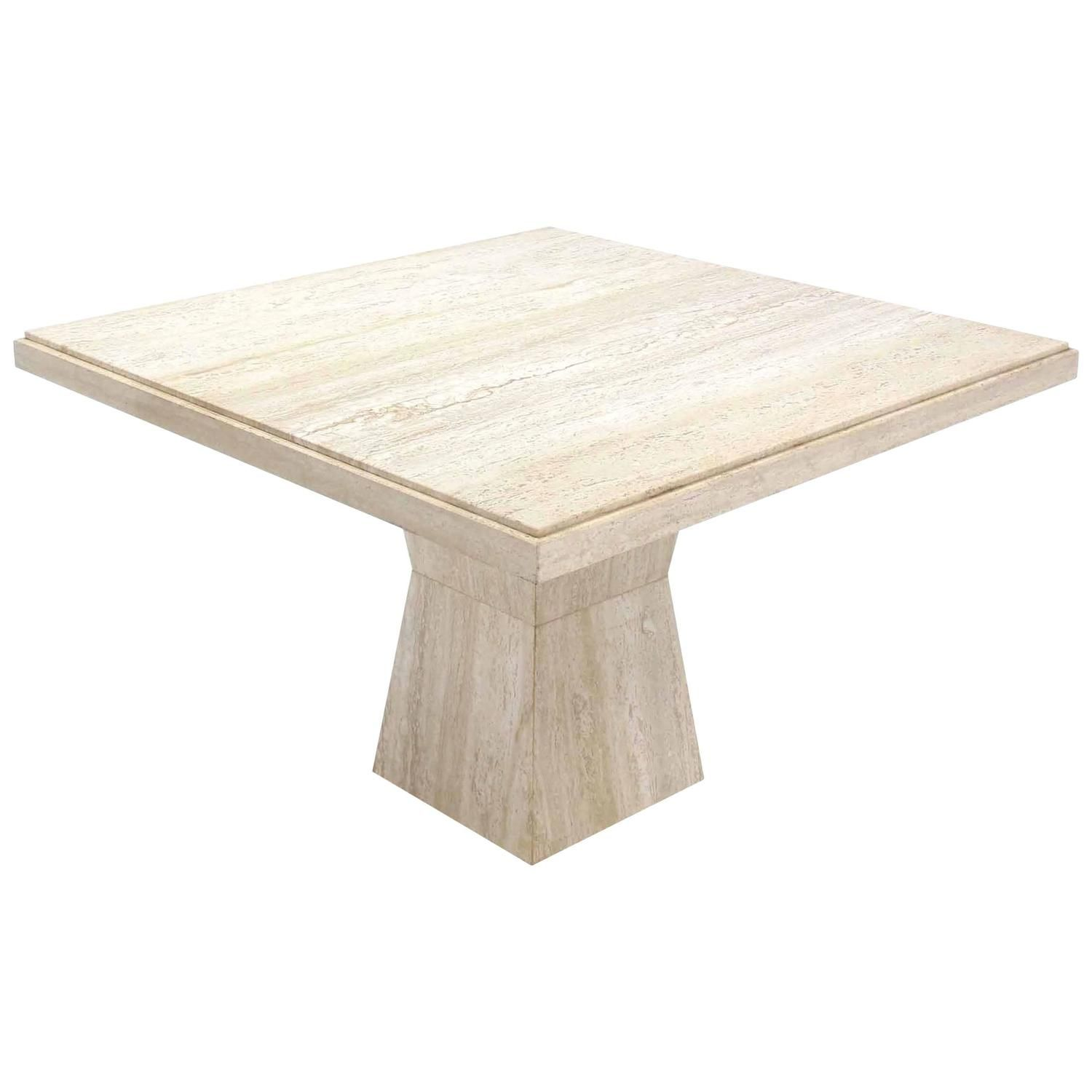 44 Inch Square Travertine Table On Double Tapered Base