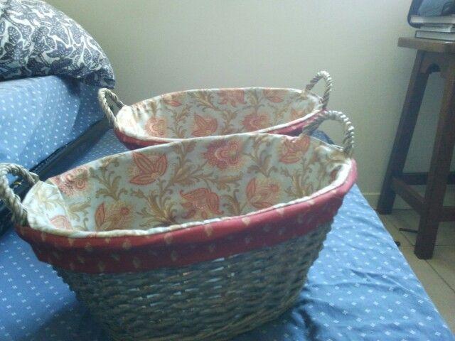 Laundry baskets.