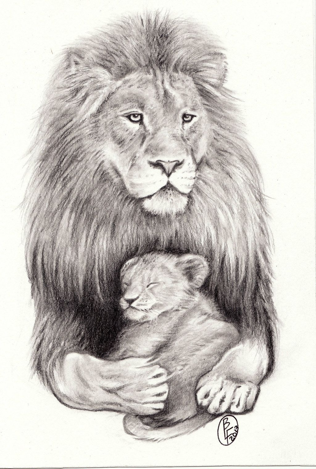 150 realistic lion tattoos and meanings 2017 collection - Lion With Sleeping Cub By D Angeline Designs Interfaces Tattoo Design