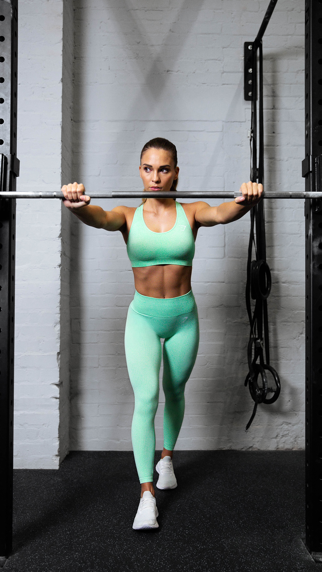 We're green with envy over this Sour Pistachio Marl look. Here, Evelina sports the Sports Bra and Le...