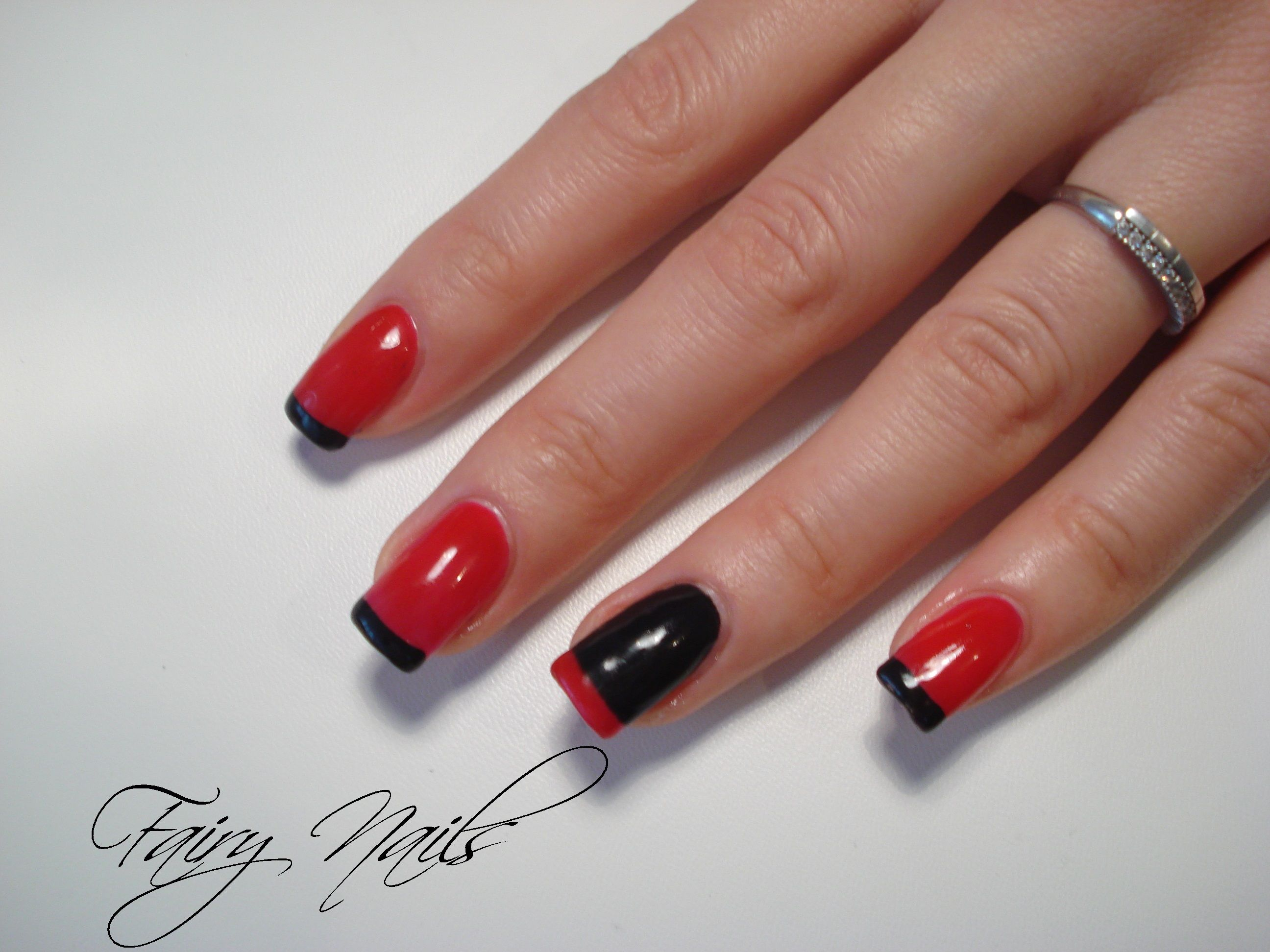 Unghii Gel Rosu Si Negru Fairy Nails Beauty Nails Fairy