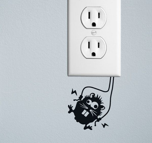 20 Creative Ways To Decorate Wall Outlets Wall Outlets Wall Stickers Decor