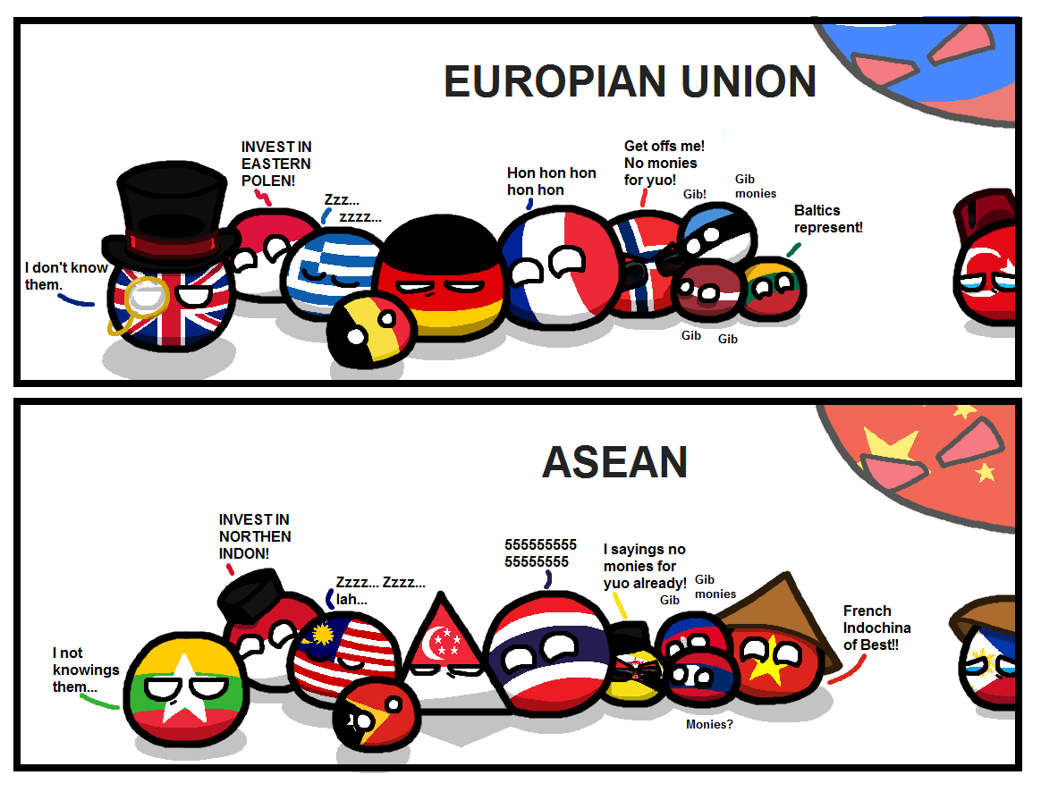 Eu And Asean By Taongkalye Polandball Countryball Country Jokes Country Humor Country Memes