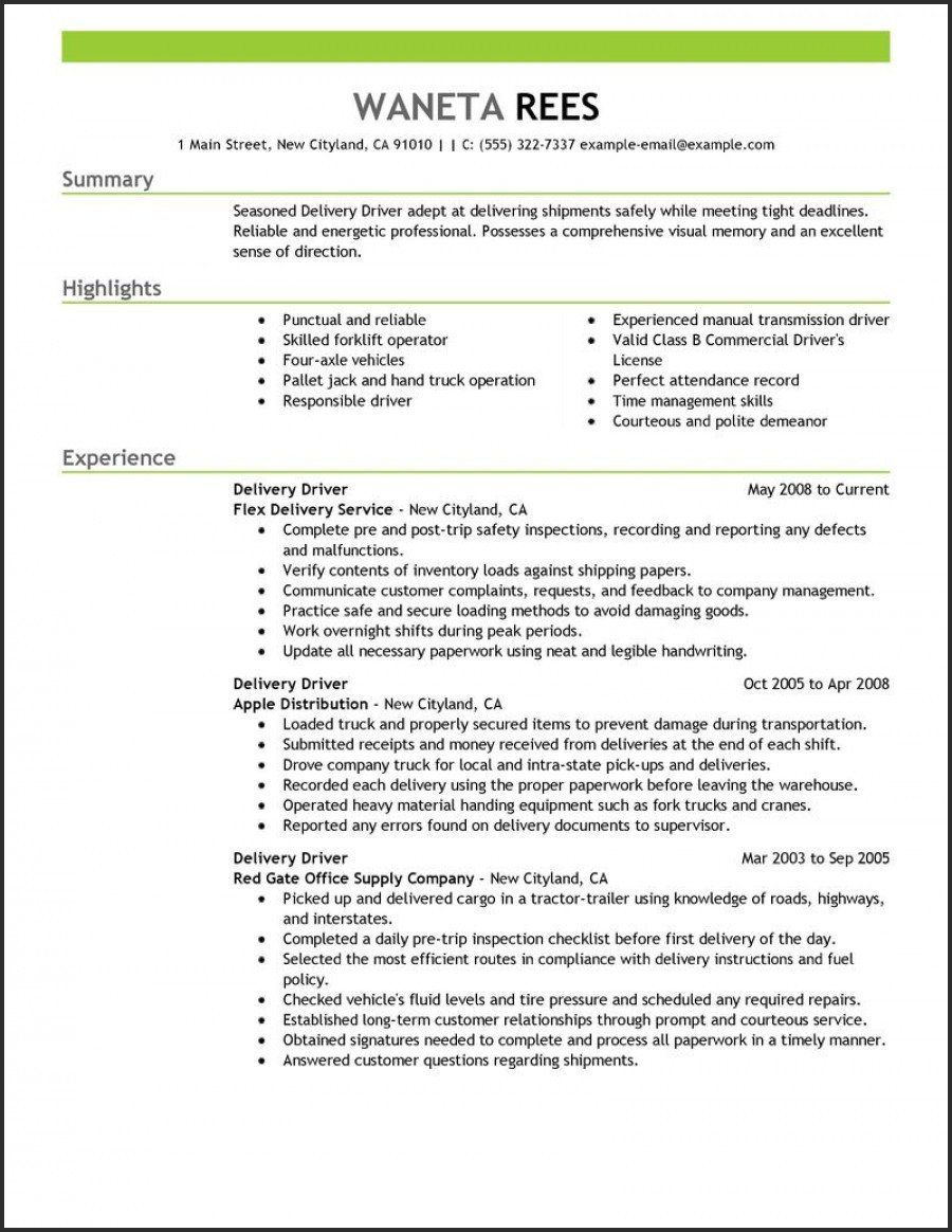 Truck Driver Resume No Experience Fresh Driver Resume Template Best Resume Sample For Driver Unique Job Resume Examples Resume Examples Driver Job