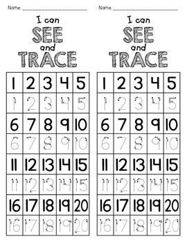 1-20 Trace or Write {FREEBIE}