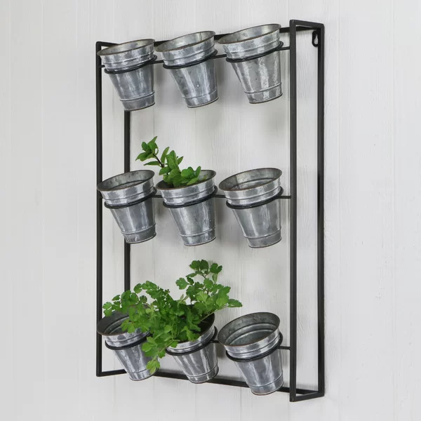 Cardona 9 Piece Pot Metal Wall Planter In 2020 Wall Planter Metal Wall Planters Galvanized Pots